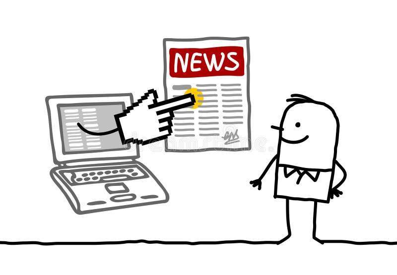 Hombre con las noticias en línea libre illustration