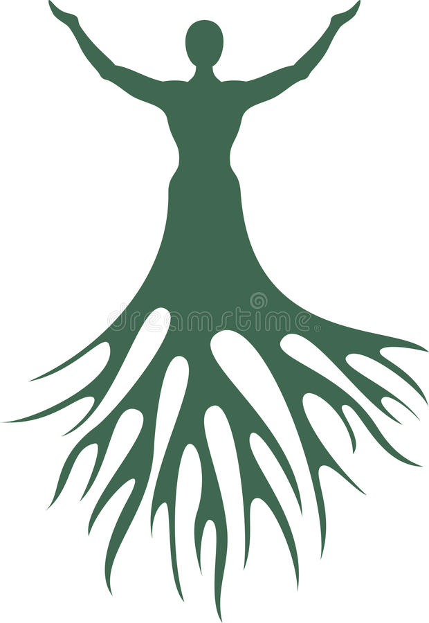 Hombre con las raíces del árbol Silueta en un fondo blanco fotografía de archivo