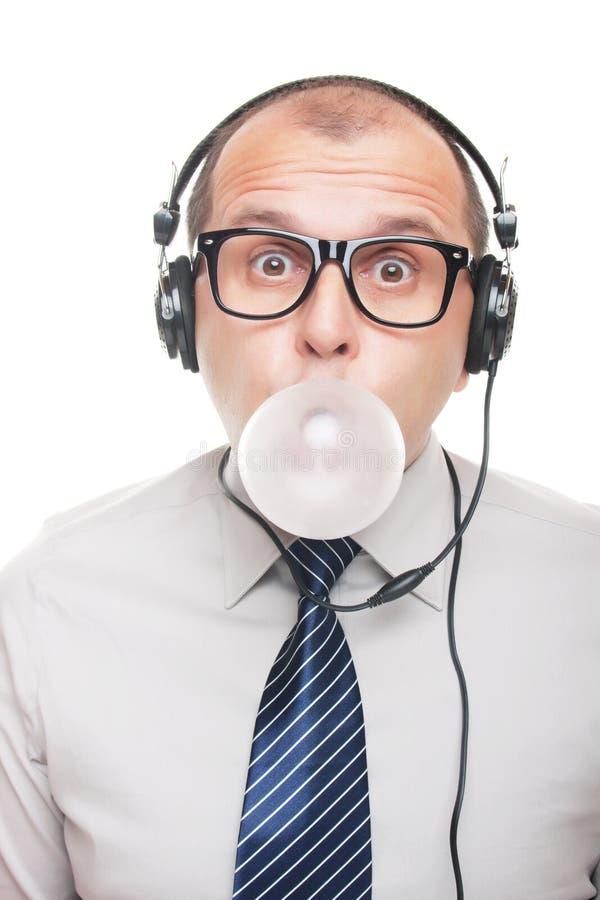 Hombre con los auriculares imagen de archivo libre de regalías
