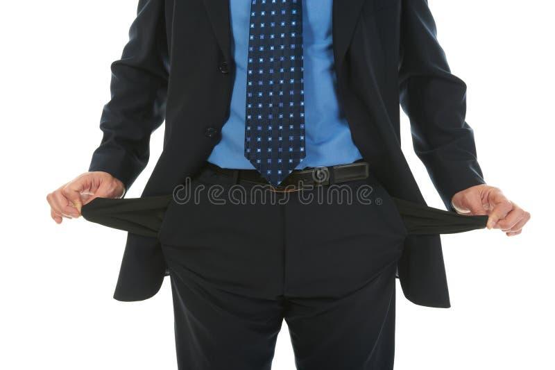Hombre con los bolsillos vacíos fotografía de archivo