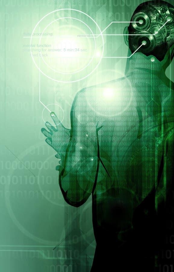 Hombre con los engranajes dentro de su cabeza libre illustration