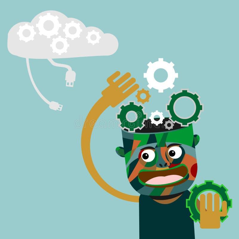 Hombre con los engranajes en el concepto principal de la innovación stock de ilustración
