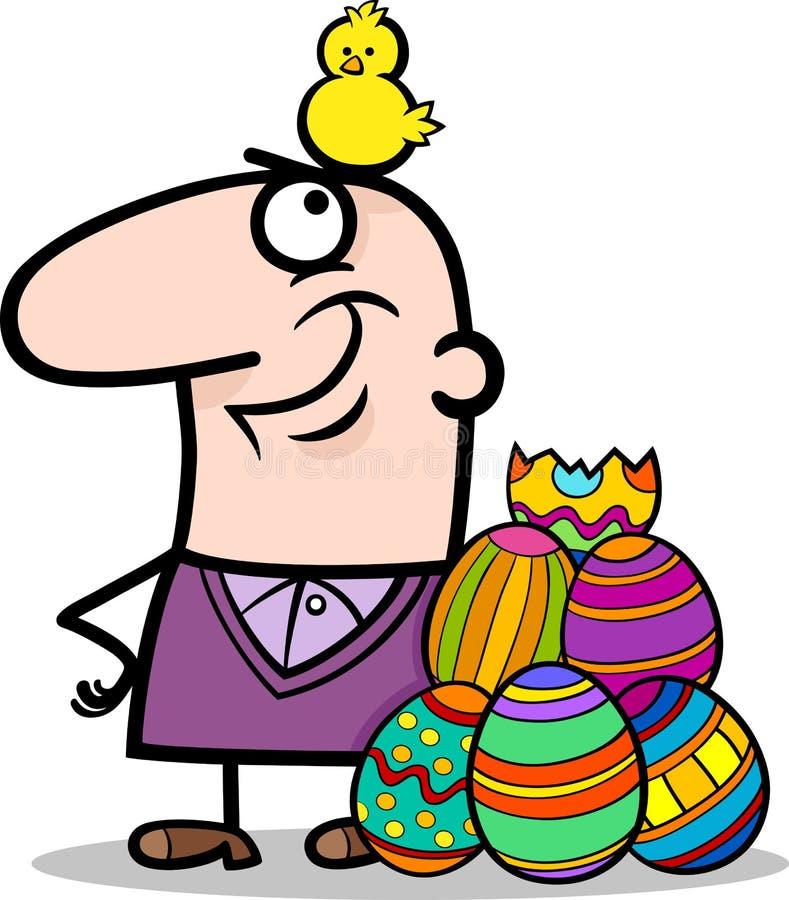 Hombre con los huevos de Pascua y la historieta del pollo libre illustration