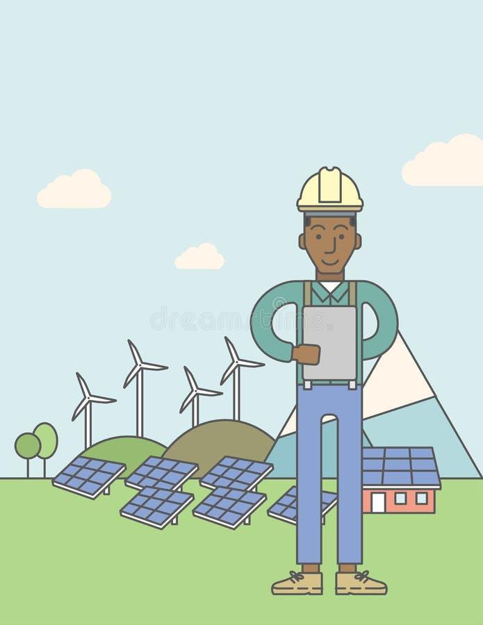 Hombre con los paneles solares y las turbinas de viento libre illustration