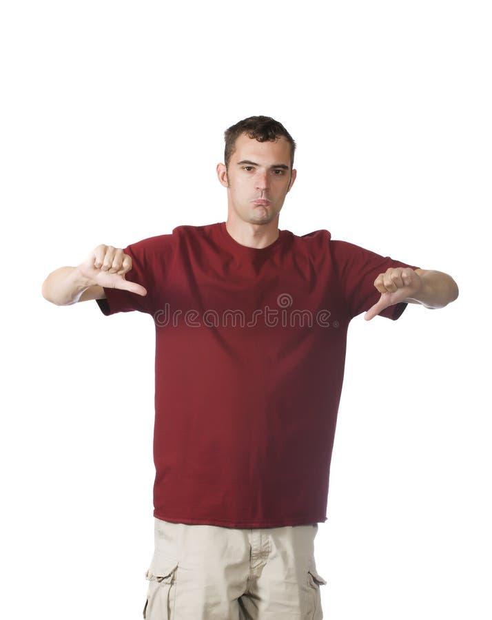 Hombre con los pulgares abajo imagenes de archivo