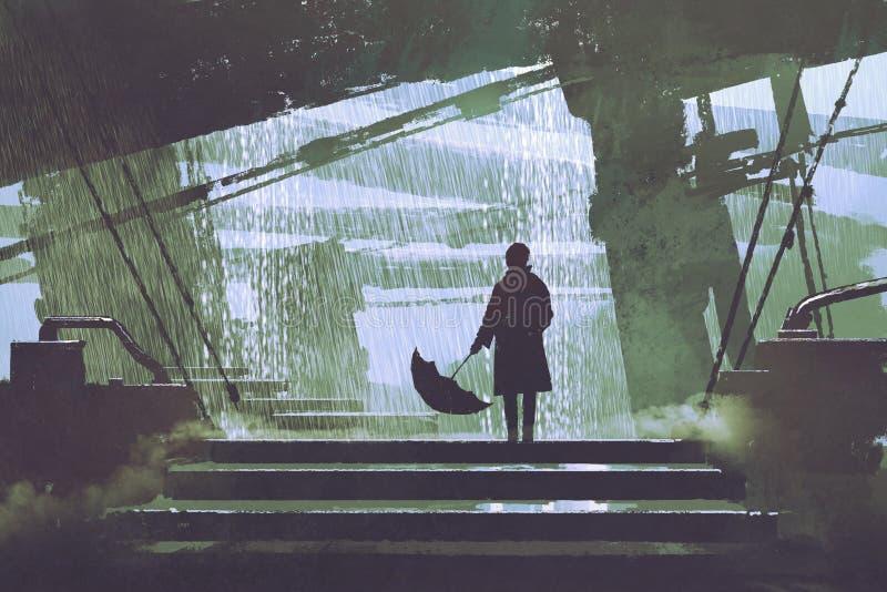 Hombre con los soportes de paraguas debajo del edificio en día lluvioso ilustración del vector