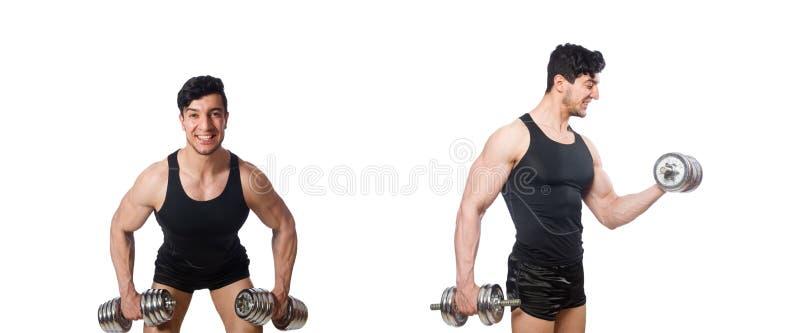 Hombre con pesas de gimnasia aislado en blanco imagenes de archivo