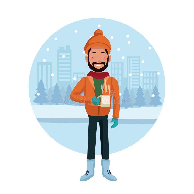 Hombre con ropa del invierno libre illustration