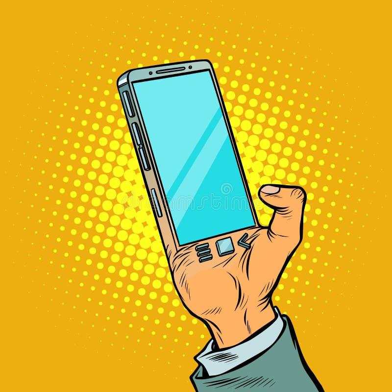 Hombre con smartphone de la mano El artilugio se implanta en el b humano stock de ilustración