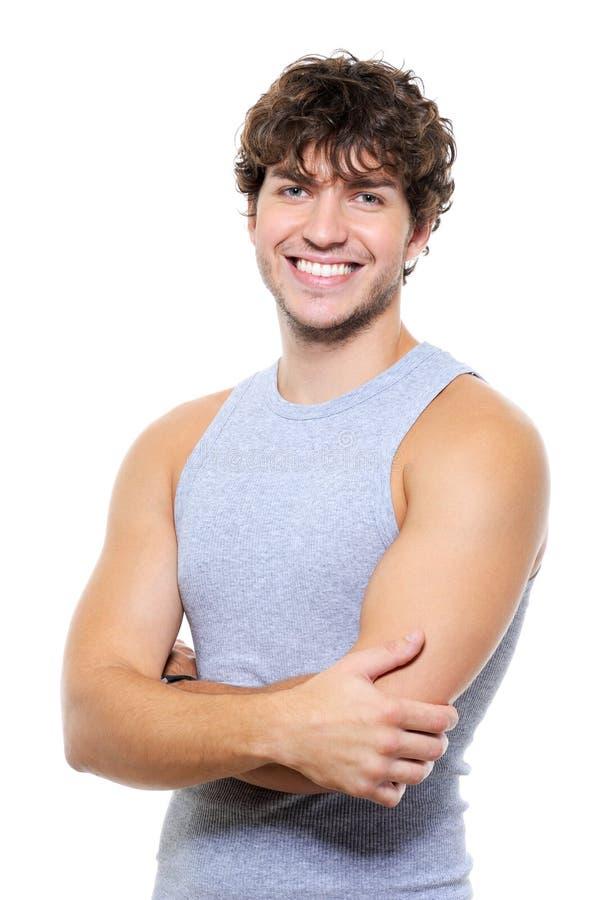 Hombre con sonrisa feliz encantadora imagen de archivo