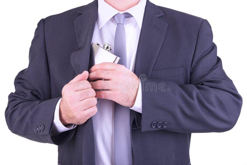 Hombre con su frasco de la cadera imágenes de archivo libres de regalías