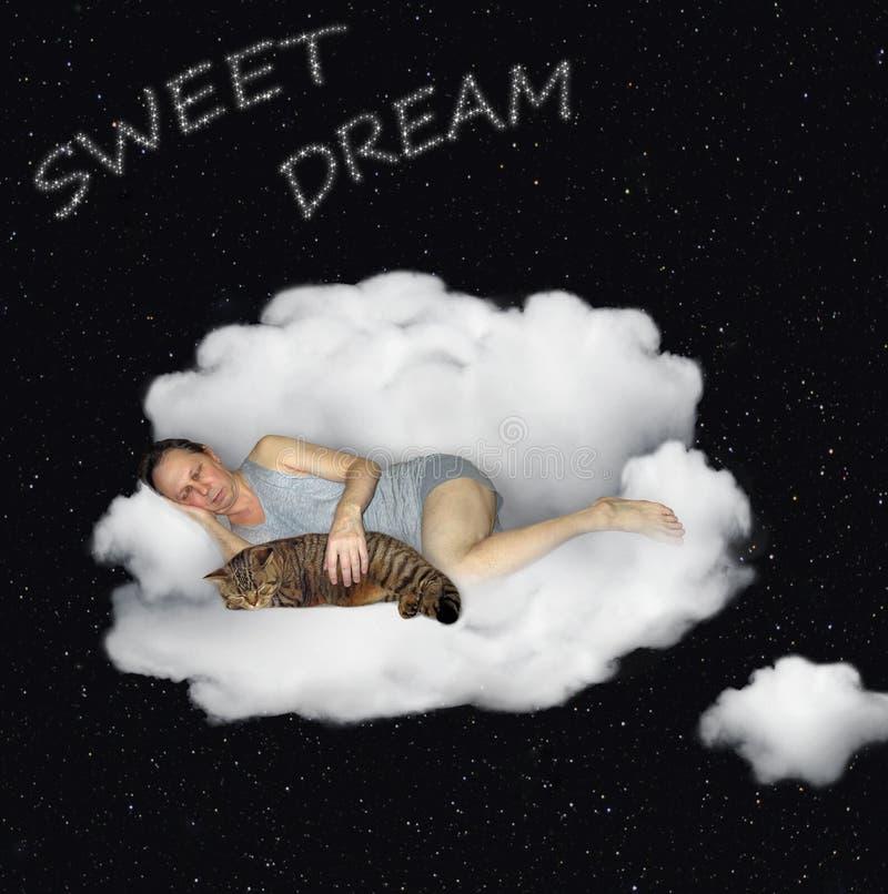 Hombre con su gato que duerme en una nube 3 foto de archivo