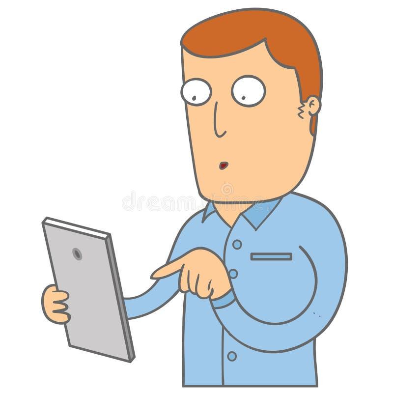 Hombre con su teléfono stock de ilustración
