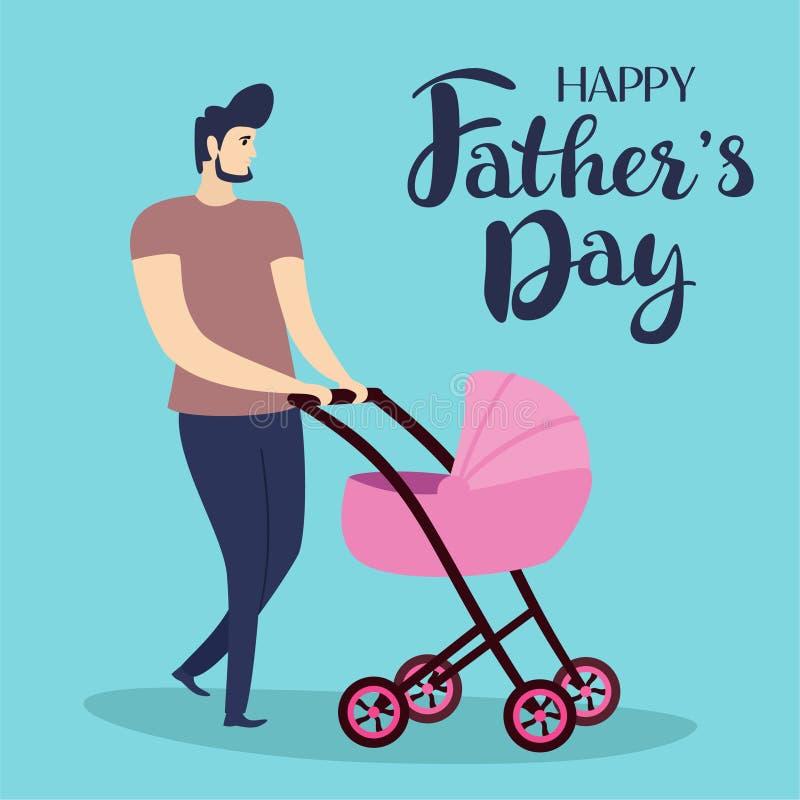 Hombre con un carro de bebé Tarjeta de felicitación divertida para el día de padre Ejemplo del vector con el texto libre illustration