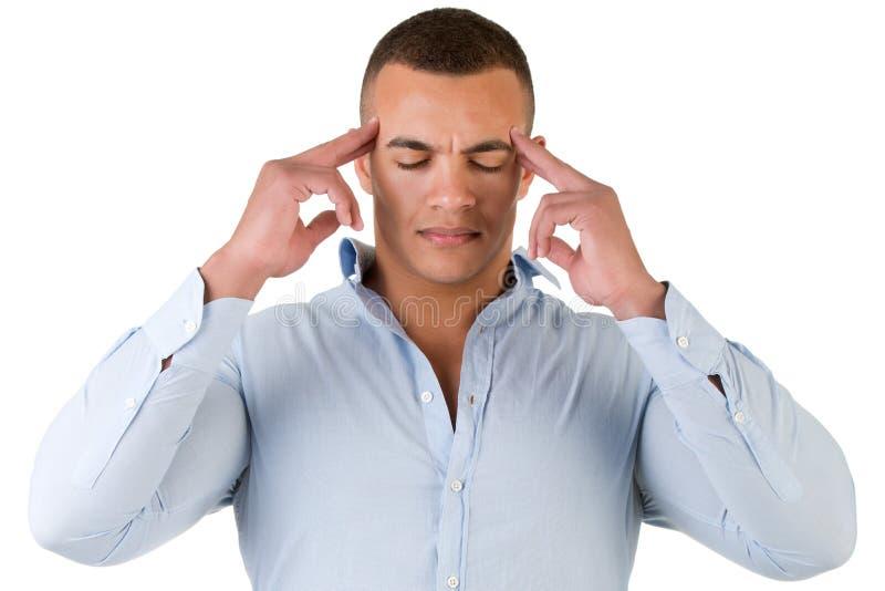 Hombre con un dolor de cabeza fotografía de archivo libre de regalías