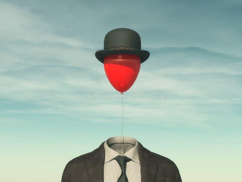Hombre con un globo rojo imagenes de archivo