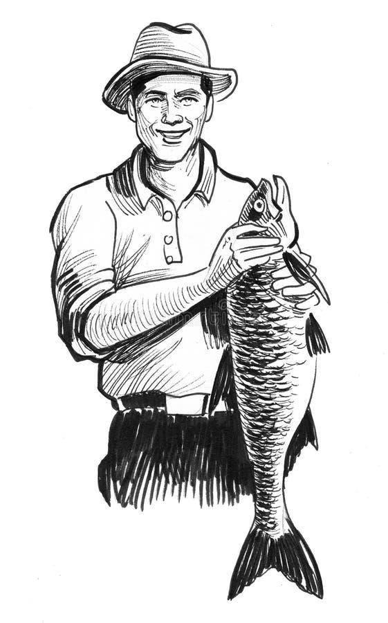 Hombre con un pescado ilustración del vector