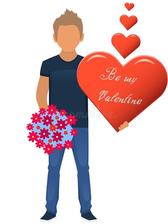 Hombre con un ramo de flores y de un corazón ser mi tarjeta del día de San Valentín Tarjeta de regalo de vacaciones Ilustración d stock de ilustración