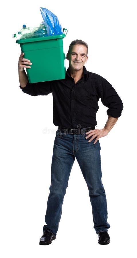 Hombre con un rectángulo de reciclaje fotos de archivo libres de regalías