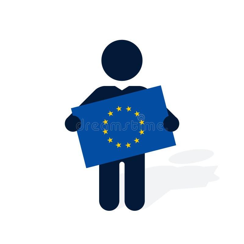 Hombre con una bandera de la unión europea libre illustration