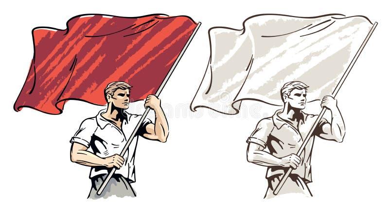 Hombre con una bandera en sus manos ilustración del vector