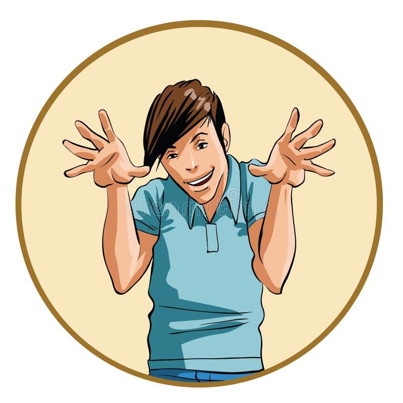 Hombre con una expresión intensa y las manos aumentadas stock de ilustración