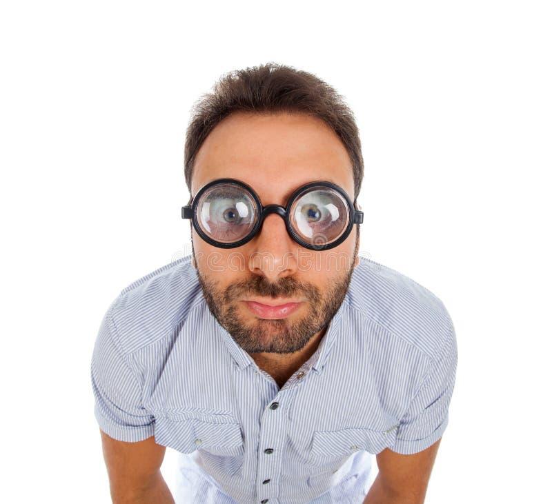 Hombre con una expresión sorprendida y vidrios gruesos imágenes de archivo libres de regalías