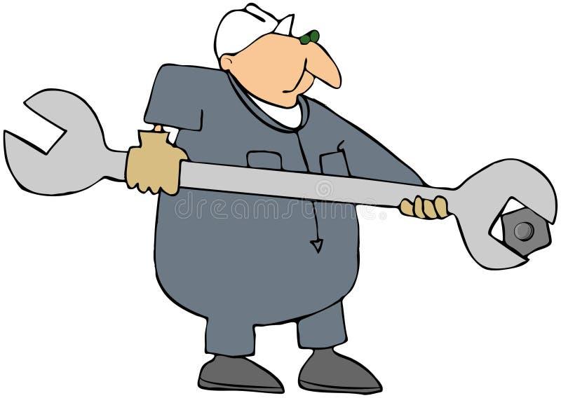 Hombre con una llave gigante ilustración del vector