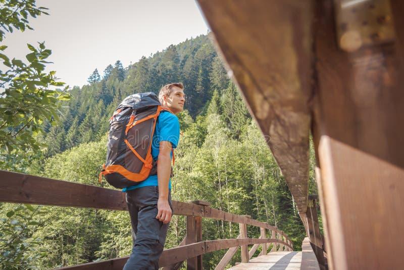 Hombre con una mochila que camina en un puente en el bosque imágenes de archivo libres de regalías
