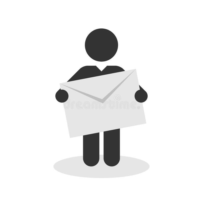 Hombre con una muestra con posts de la letra stock de ilustración