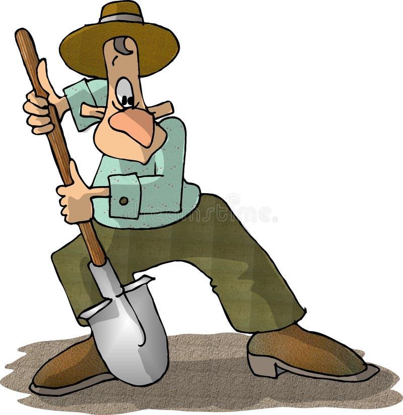 Hombre con una pala stock de ilustración
