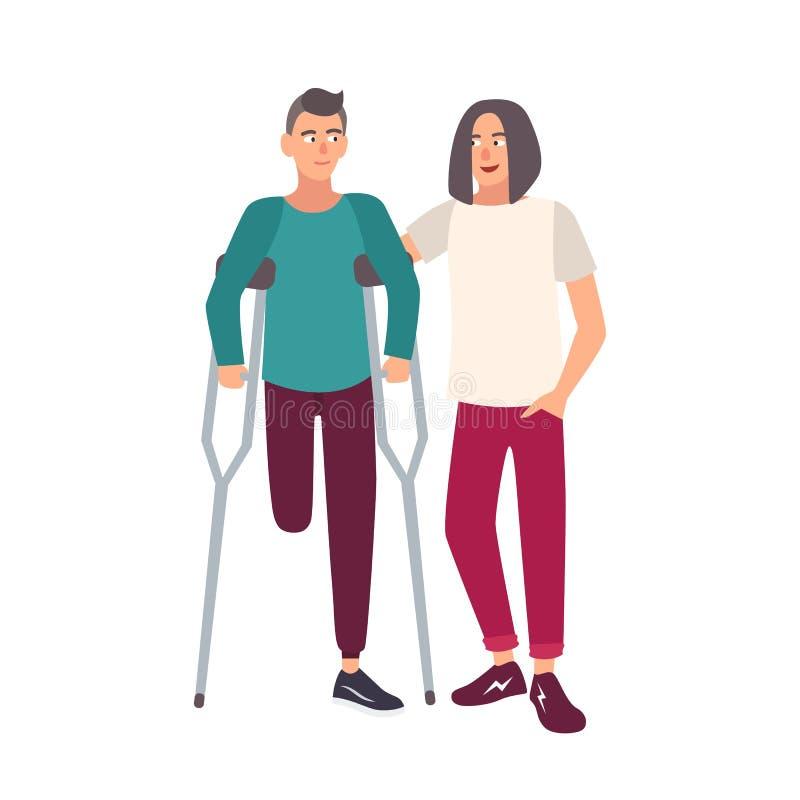 Hombre con una sola pierna con las muletas que se colocan así como su amigo Personaje de dibujos animados masculino sonriente con libre illustration