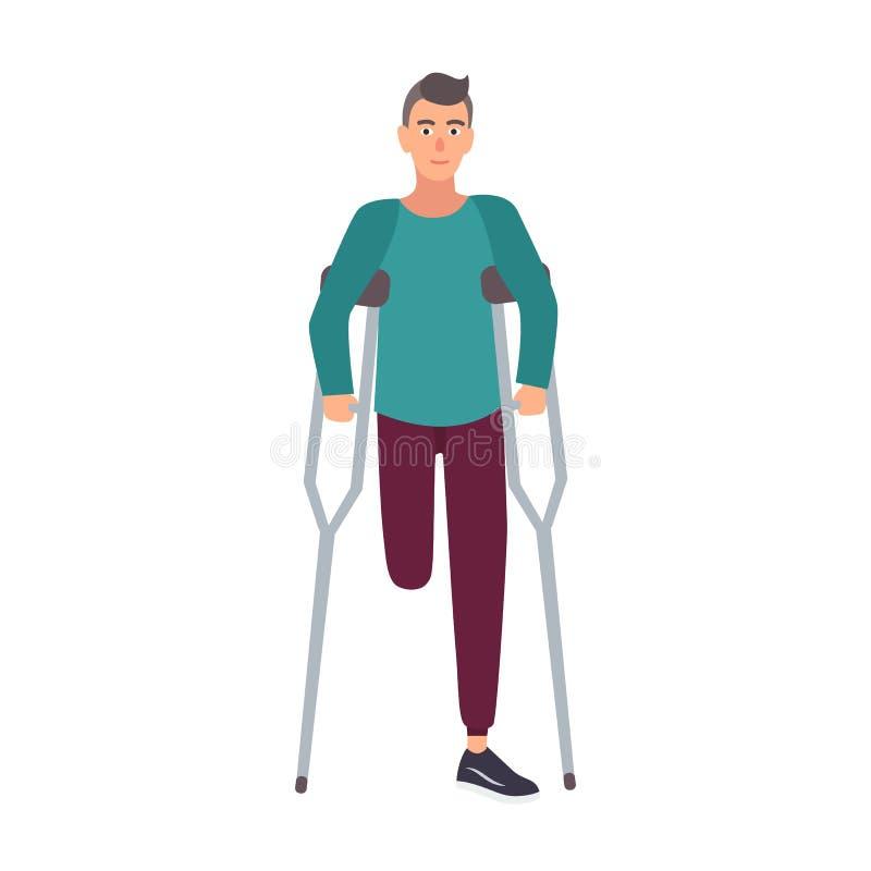 Hombre con una sola pierna o muchacho sonriente con la pierna amputada que se coloca o que camina con las muletas Personaje de di stock de ilustración