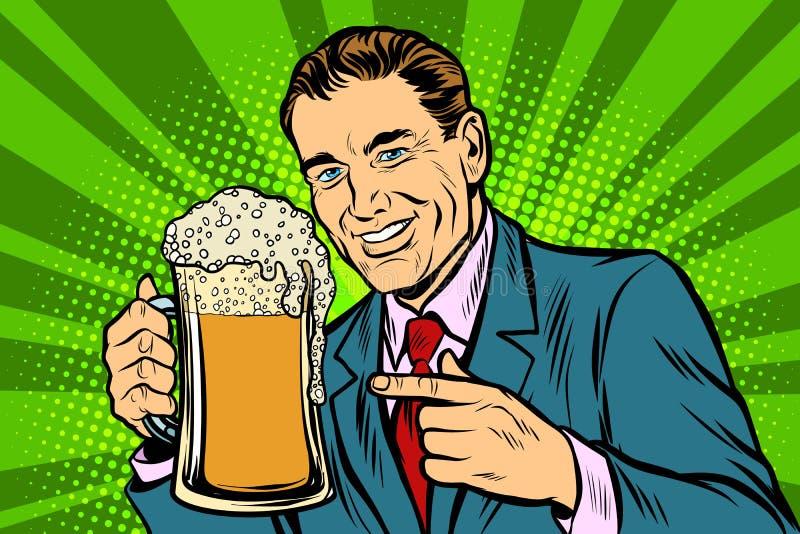 Hombre con una taza de espuma de la cerveza stock de ilustración