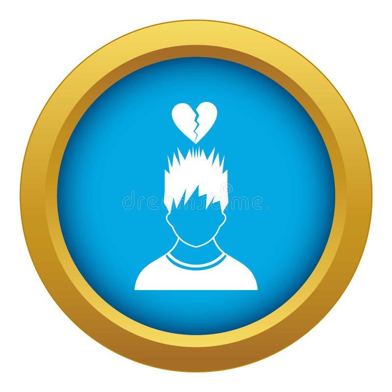 Hombre con vector azul del icono de arriba rojo quebrado del corazón aislado ilustración del vector