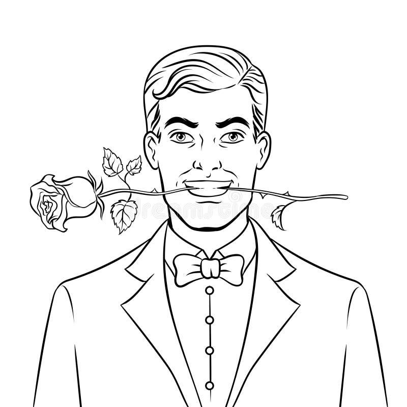 Hombre con vector color de rosa del libro de colorear de la flor stock de ilustración