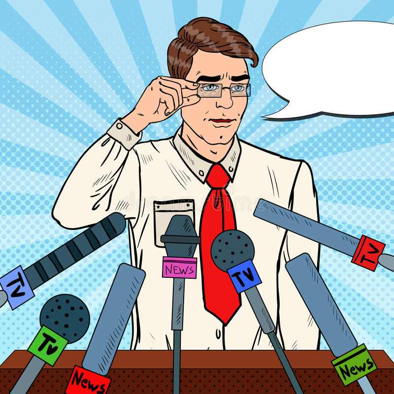Hombre confiado que da rueda de prensa Entrevista de los medios de comunicación Ejemplo del arte pop stock de ilustración