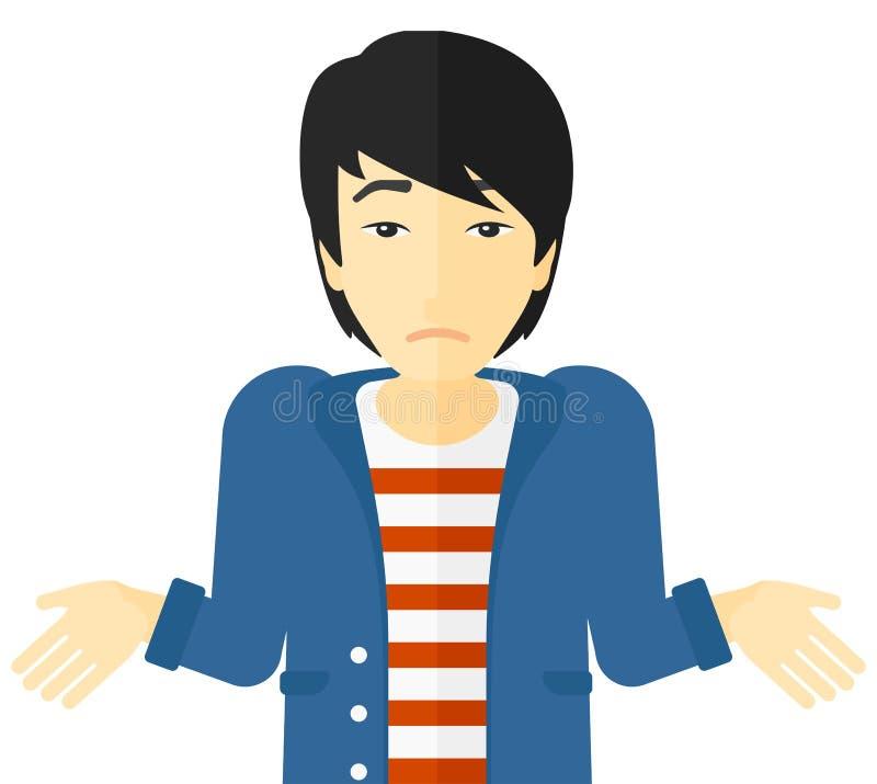 Hombre confuso que encoge sus hombros libre illustration