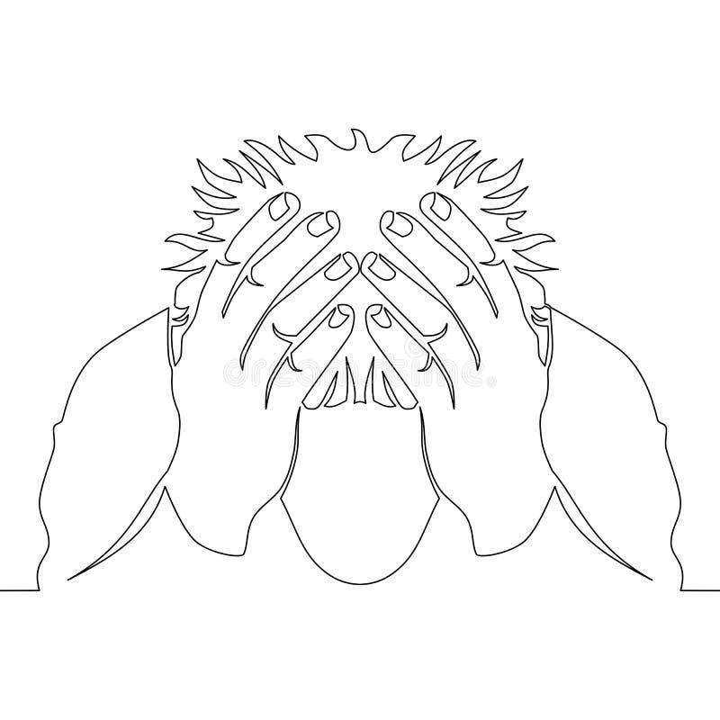 Hombre continuo del dibujo lineal en vector de la depresión stock de ilustración