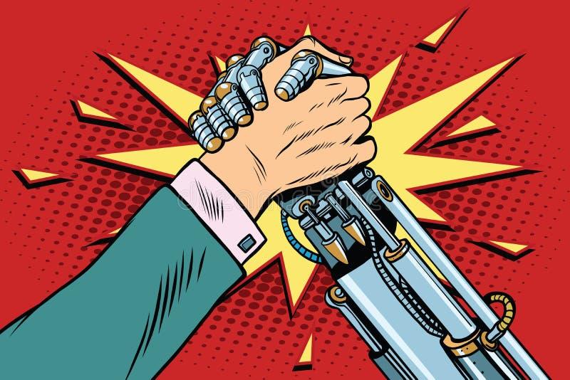 Hombre contra la confrontación de la lucha del pulso del robot ilustración del vector