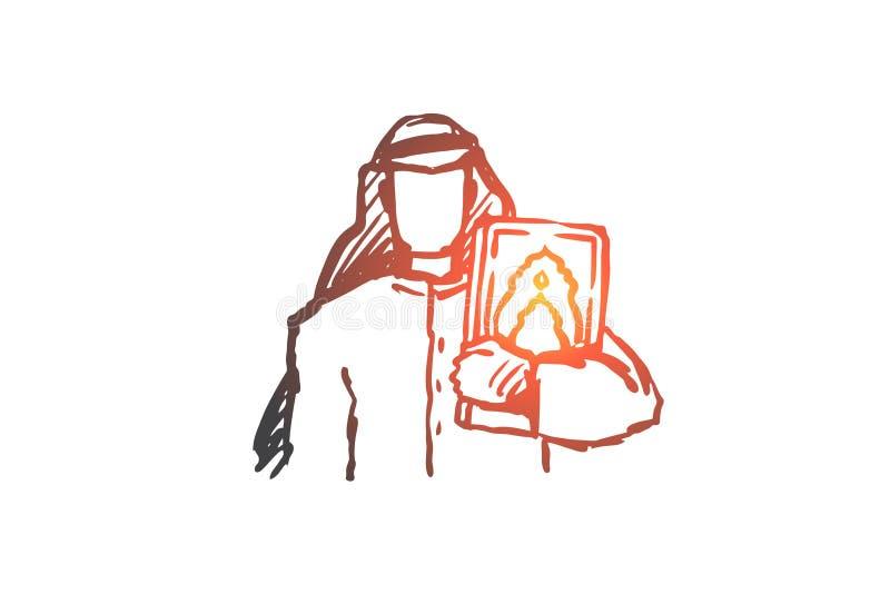 Hombre, Corán, religión, musulmán, árabe, concepto del Islam Vector aislado dibujado mano ilustración del vector
