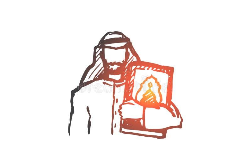Hombre, Corán, religión, musulmán, árabe, concepto del Islam Vector aislado dibujado mano libre illustration