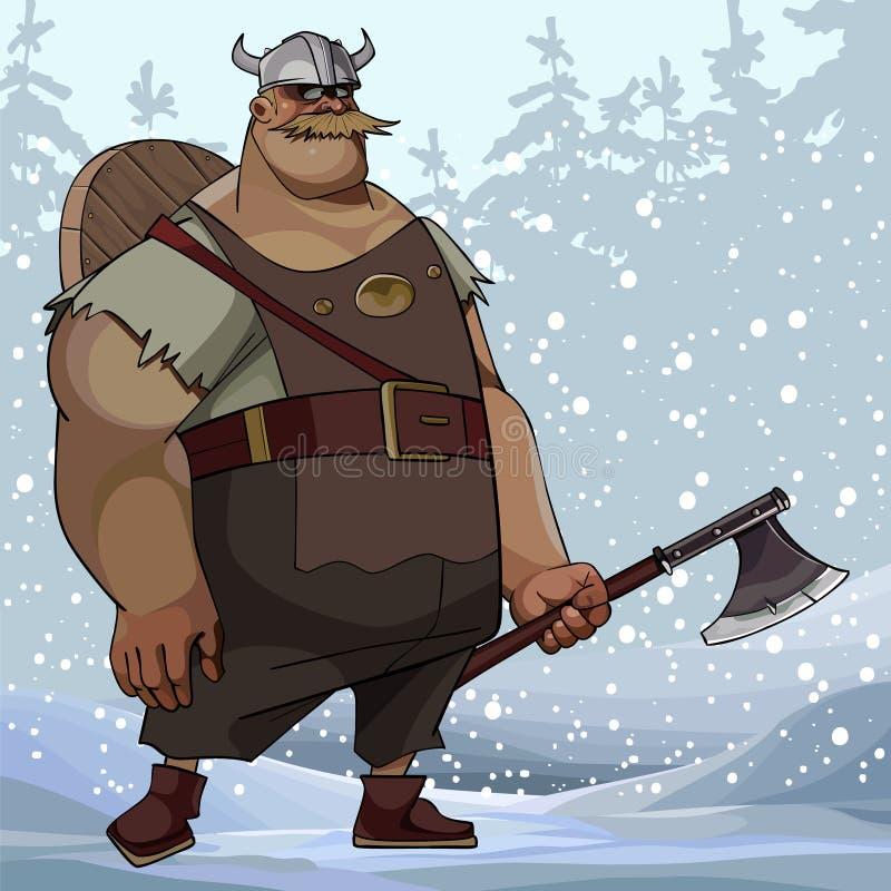Hombre corpulento de la historieta en la ropa de vikingo con un hacha en un bosque nevoso libre illustration