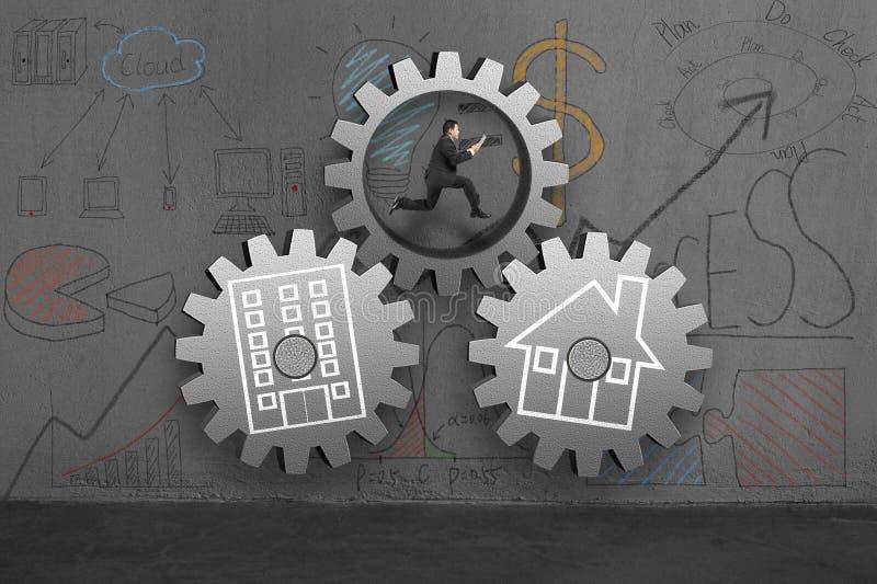 Hombre corriente con los engranajes concretos para la conexión del hogar y de la oficina ilustración del vector