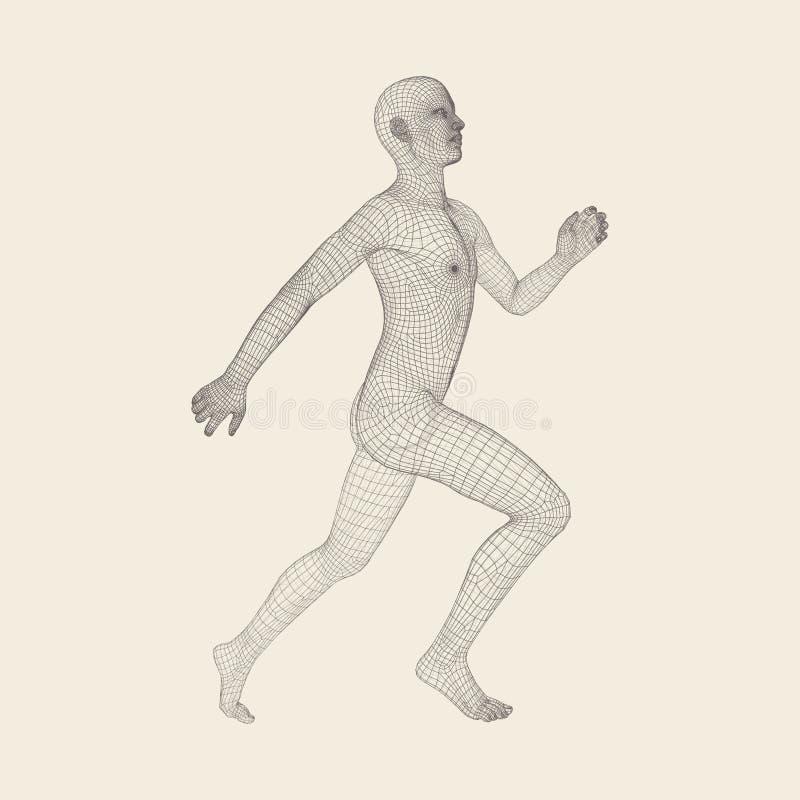 hombre corriente 3D Modelo del alambre del cuerpo humano S?mbolo del deporte hombre Bajo-polivin?lico en el movimiento Ejemplo ge stock de ilustración