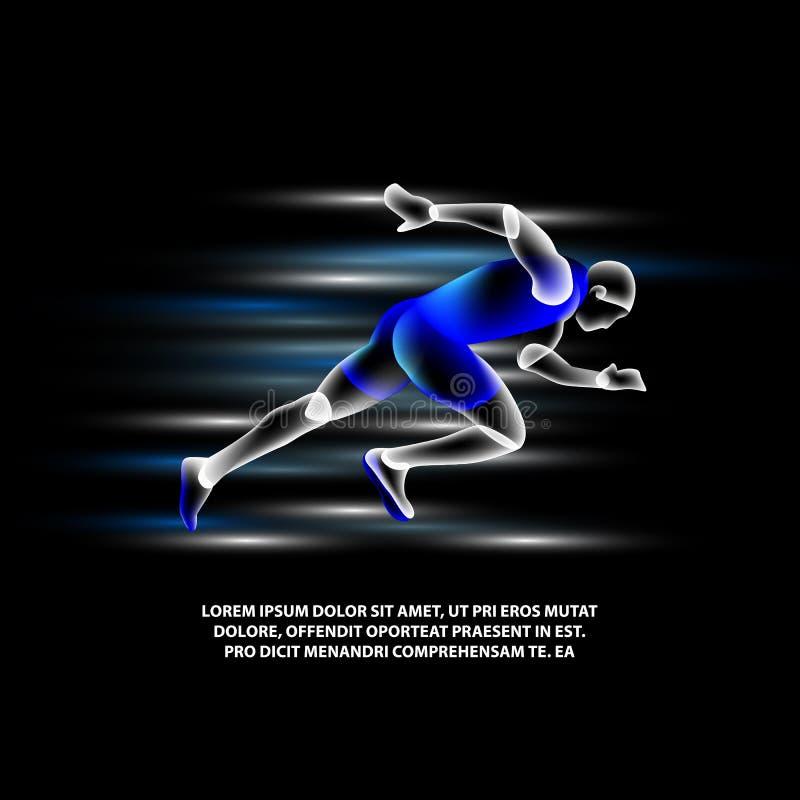 Hombre corriente del holograma en un fondo negro ejemplo virtual del esprinter del vector que brilla intensamente stock de ilustración