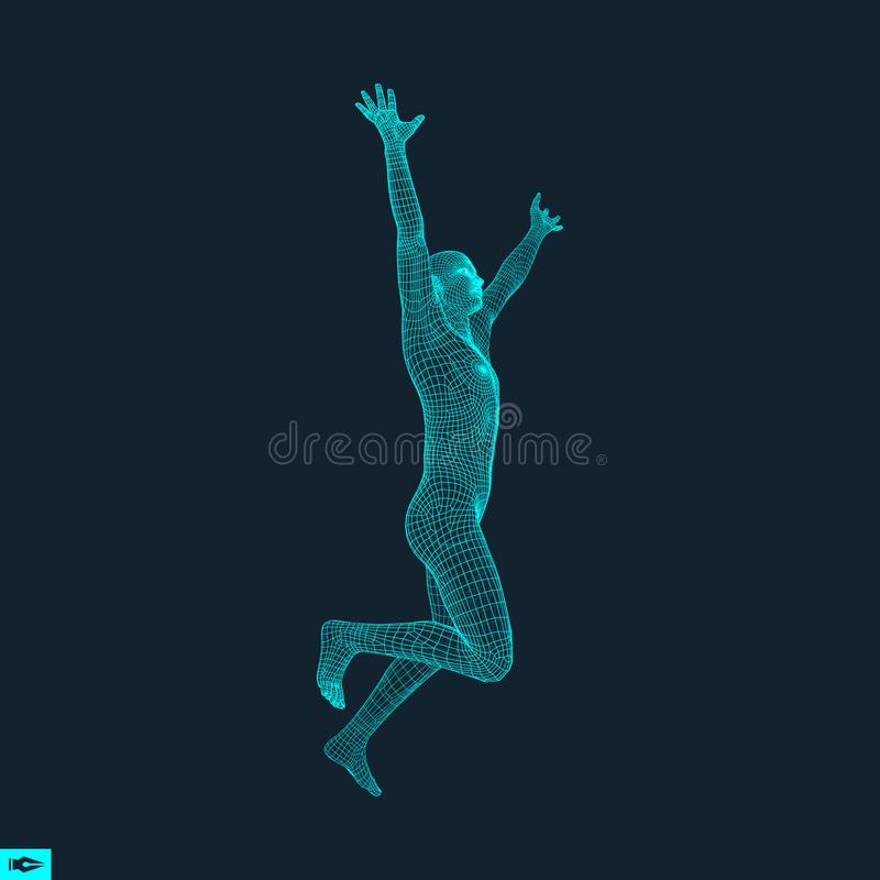 Hombre corriente Diseño geométrico Modelo del alambre del cuerpo humano ilustración del vector