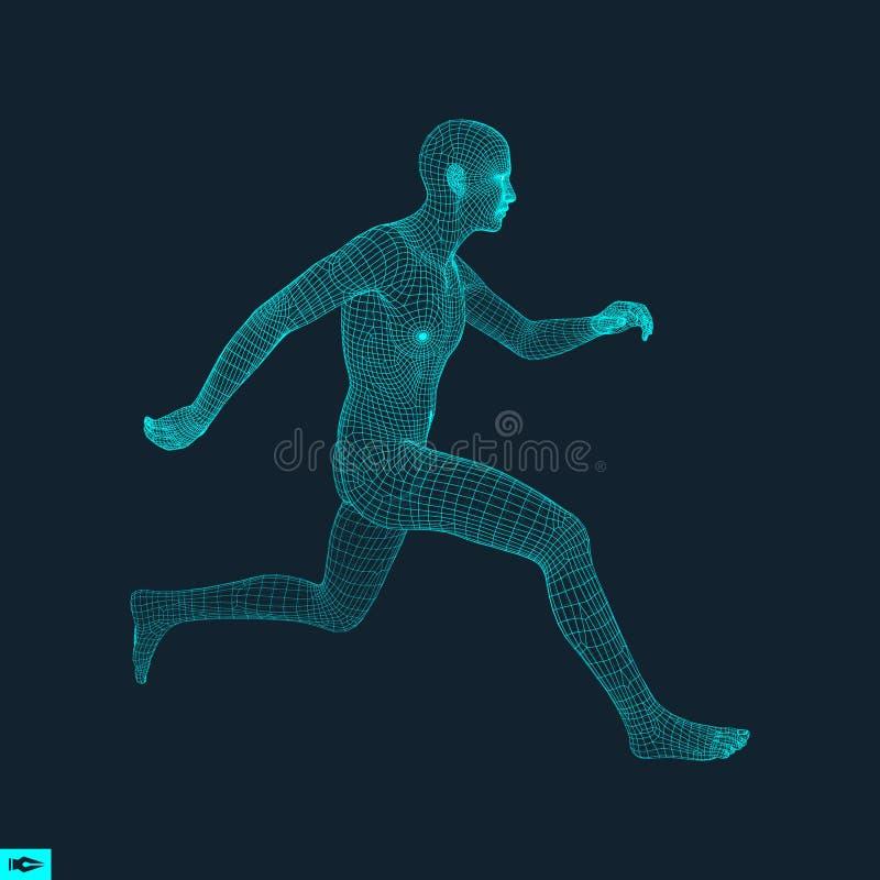 Hombre corriente Diseño poligonal modelo 3D del hombre stock de ilustración