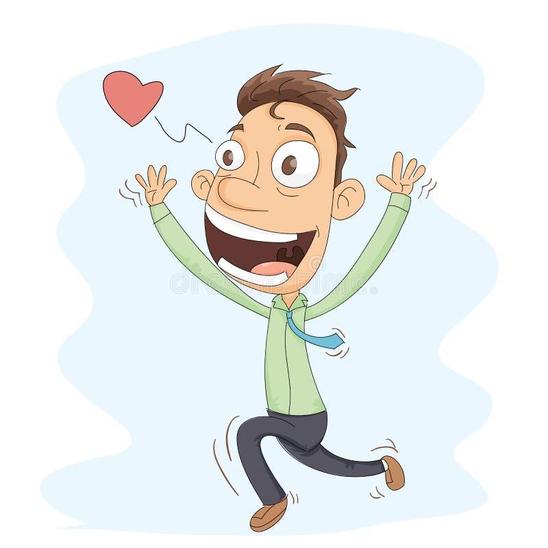 Hombre corriente feliz ilustración del vector