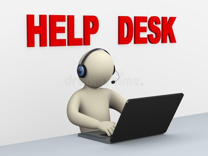 hombre 3d con el ordenador portátil - puesto de informaciones stock de ilustración